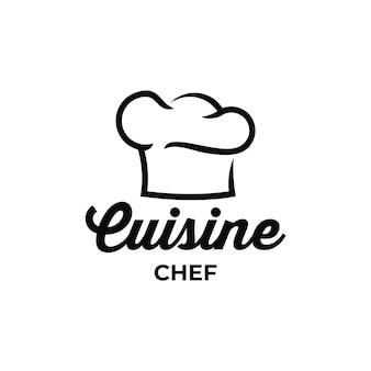 Lo chef di cucina mangia l'ispirazione per il design del logo retrò vintage
