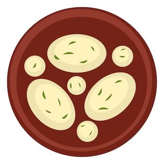 Cucina dei paesi orientali, icona isolata della ciotola con riso e aneto, prezzemolo o verde. palline di formaggio dal sapore piccante. ristorante o tavola calda piatti della tradizione, menù per vegani. vettore in piatto
