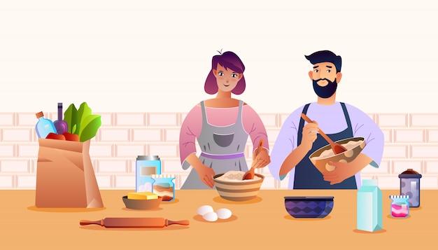 Banner culinario con la giovane famiglia che prepara il cibo a casa, sacchetto di carta, latte, uova, mattarello