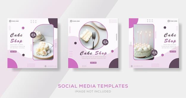 Banner del menu della torta culinaria per il modello di social media post premium