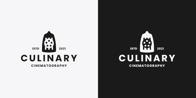 Design del logo del cinema culinario in stile retrò
