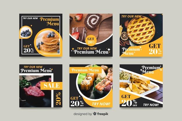 Collezione di post di instagram culinaria con foto Vettore Premium