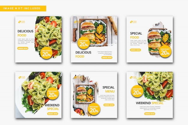 Collezione di modelli di post di instagram culinari.