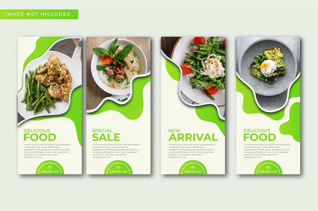 Collezione di modelli di storie di instagram culinari.