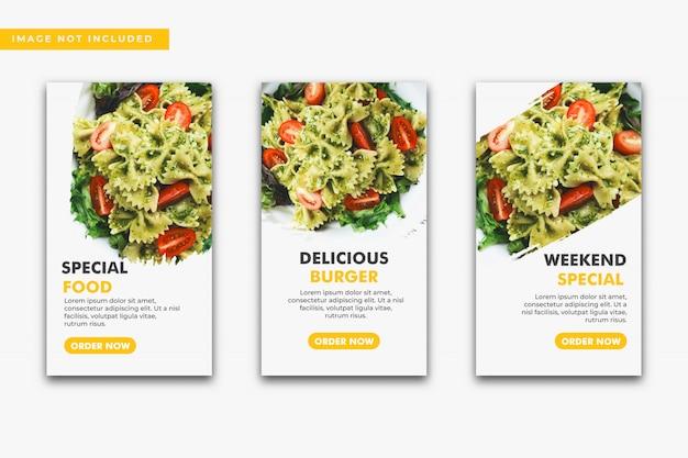Collezione di modelli di storie culinarie di instagram.