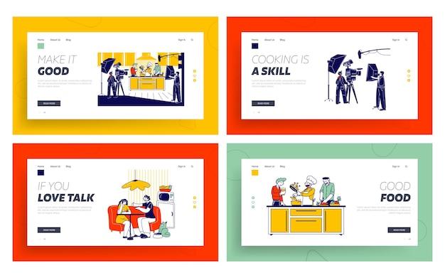 Set di modelli di pagina di destinazione per programmi culinari, spettacoli o trasmissioni di blog.