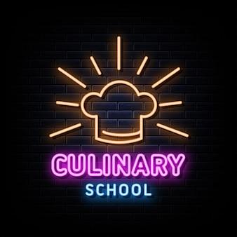Modello di disegno vettoriale di insegne al neon di scuola culinaria in stile neon