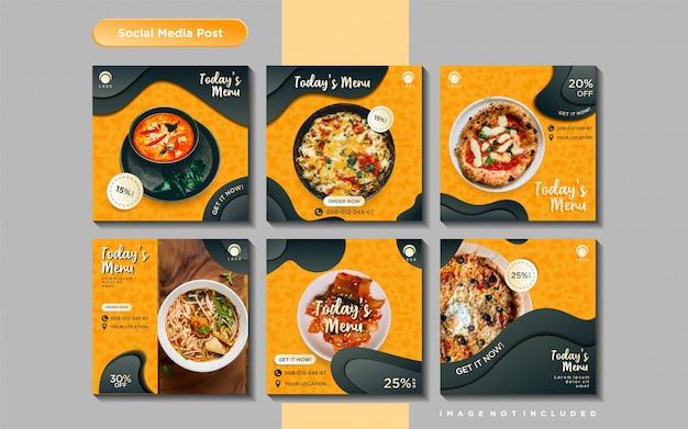 Modello di post dell'alimentazione dei social media culinari