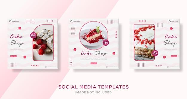 Banner di torta di dolci culinari per post del modello di social media