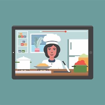Canale di trasmissione video culinario o blog con lezione di cucina online giovane chef donna che cucina
