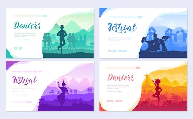 Modello di stili di ballerino culturale di flyear, banner web, intestazione ui, entra nel sito. Vettore Premium