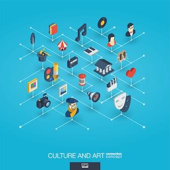 Cultura, arte integrata icone web 3d. concetto di interazione isometrica della rete digitale.