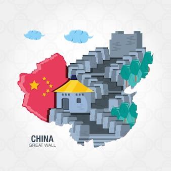 Icone della mappa della cultura della cina