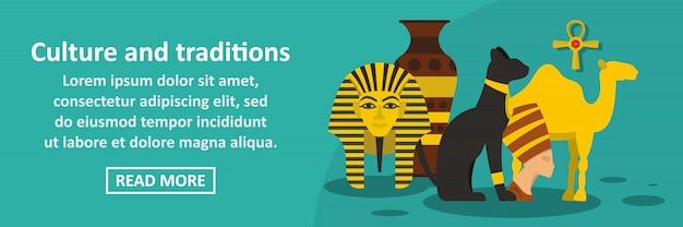 Cultura e tradizioni egitto banner orizzontale concetto