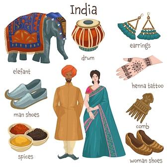 Cultura e tradizioni dell'india, uomo e donna che indossano abiti e scarpe tradizionali. tamburi indiani e gioielli, orecchini e pettine. spezie e disegno del tatuaggio all'henné, elefante. vettore in stile piatto
