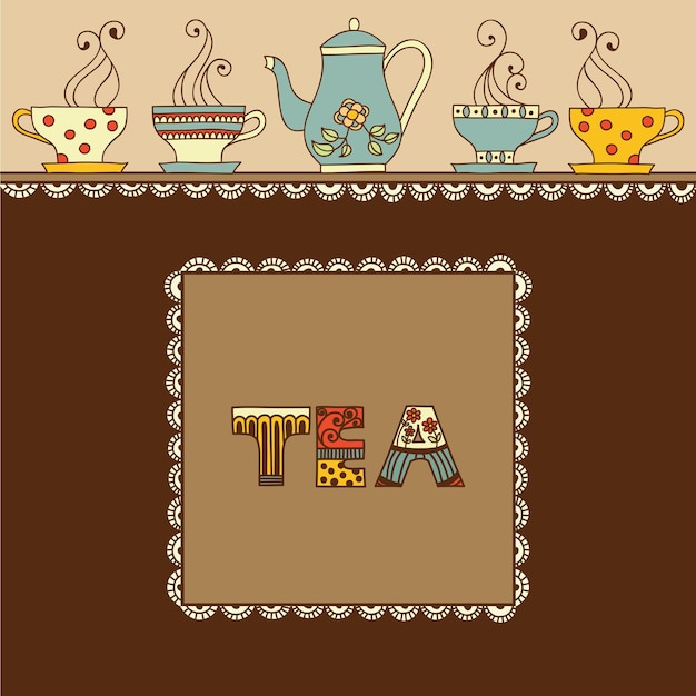 Tazza di tè o caffè aromatico e posto per il testo.