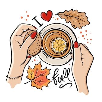 Tazza di tè autunnale ragazza mano caduta giardino natura stagione disegnati a mano fumetto testo clip art set