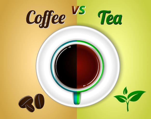 Una tazza di caffè nero vista dall'alto o una tazza di tè e piattino eps 10 vettore facile da modificare
