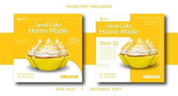 Cup cake promozione dei social media fatta in casa e design di banner per instagram