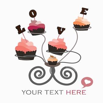 Foggi a coppa la torta nell'amore sul vettore di san valentino