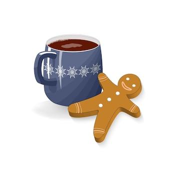 Una tazza di cacao marshmallow gingerbread cookie. spuntino per le vacanze di natale