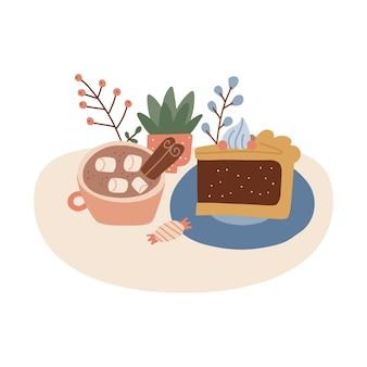 Una tazza di cacao con marshmallow e stecca di cannella delizioso pezzo di torta il giorno del ringraziamento isolato...