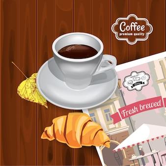 Vista dall'alto della tazza di caffè e croissant