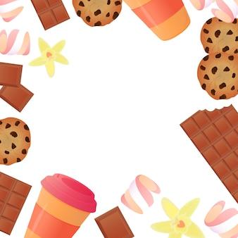 Tazza di caffè, una tavoletta di cioccolato, biscotti, caramelle gommosa e molle. sfondo cornice di pasticceria.
