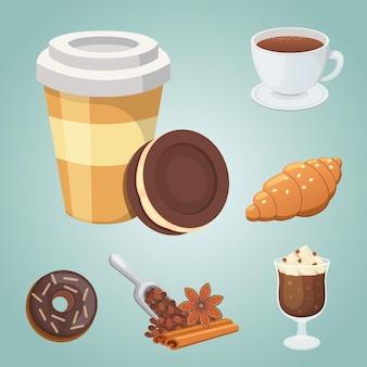 Tazza di caffè, cappuccino, latte e cibo al cioccolato