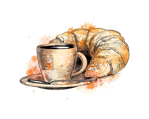 Tazza di caffè e un croissant da una spruzzata di acquerello, schizzo disegnato a mano. illustrazione vettoriale di vernici