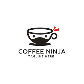 Tazza di caffè ninja logo design ispirazione Vettore Premium