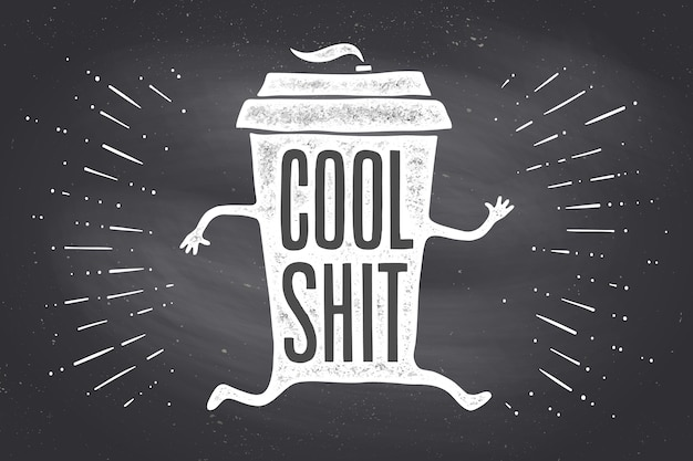 Tazza di caffè. tazza da caffè poster con scritte disegnate a mano