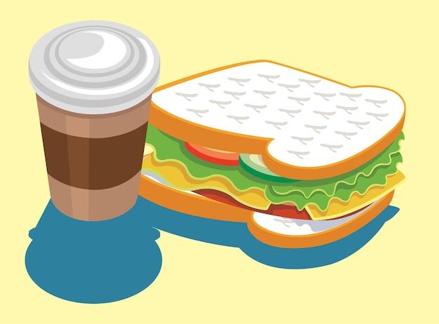 Una tazza di caffè e un'illustrazione vettoriale di panino