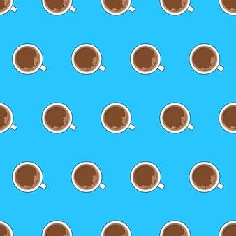 Tazza di caffè seamless su sfondo blu. illustrazione di vettore del tema di vista dall'alto del caffè