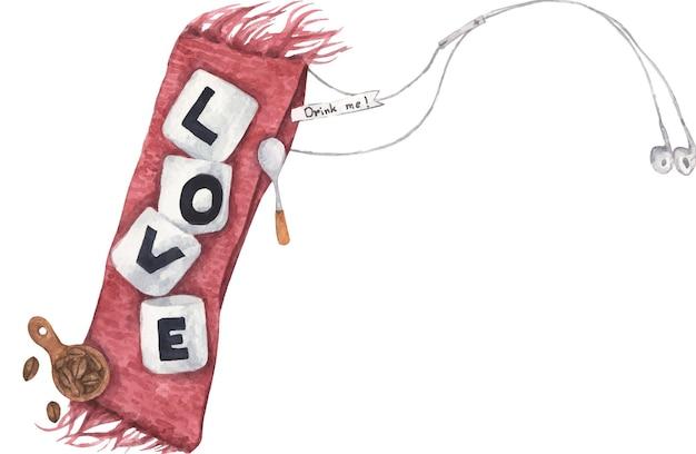 Tazza di caffè con amore sulla sciarpa lavorata a maglia