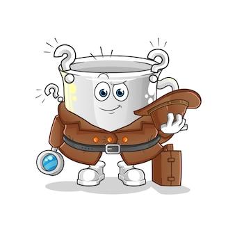 Detective della tazza. personaggio dei cartoni animati