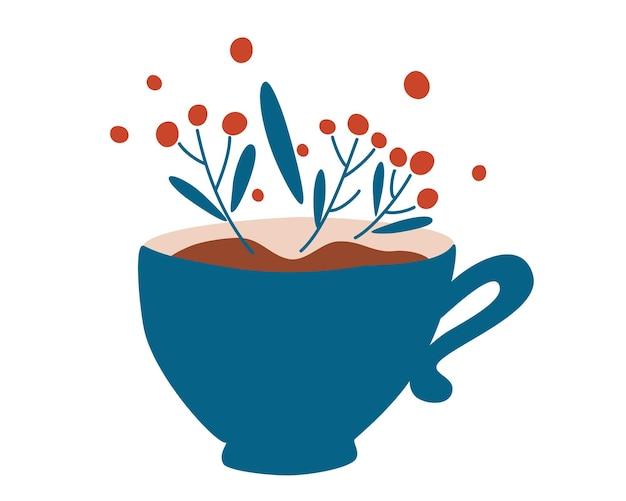 Tazza di tisana. stile di vita sano e ingrediente di bellezza. tazze da tisana con fiori e foglie.