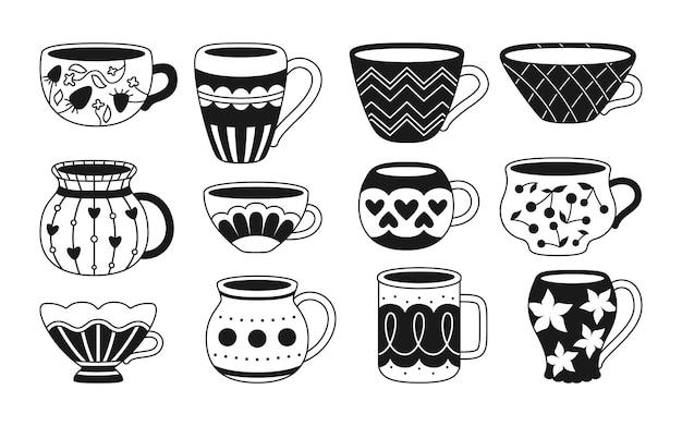 Insieme monocromatico di stile del fumetto del tè o del caffè della tazza collezione di ciotola moderna piatta nera decorate stoviglie alla moda di ornamento diverso