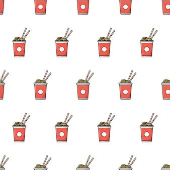 Tazza di tagliatelle seamless. illustrazione di tema cibo noodle orientali
