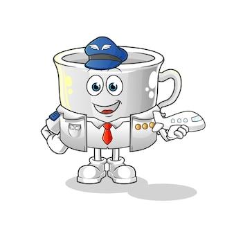 Mascotte della mascotte del fumetto del pilota della tazza