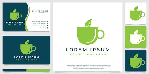 Forma della tazza oltre al vettore del logo delle sfumature organiche