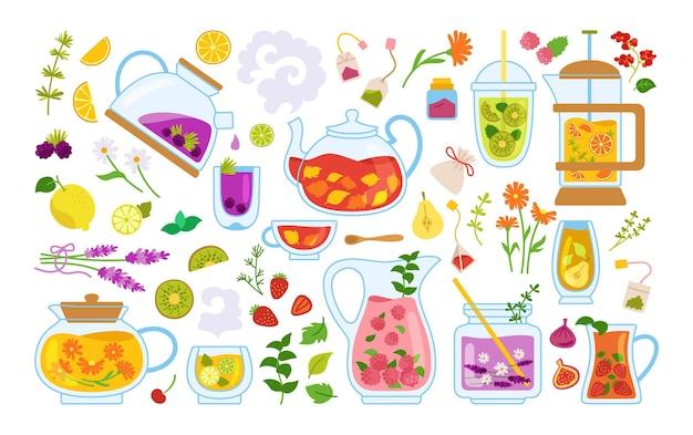 Insieme del fumetto di tazza di tè e cocktail. tè tempo tazza di vetro teiera erbe, frutta, ingredienti per bevande.