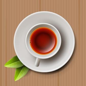 Tazza di tè cerimonia del tè vista dall'alto illustrazione vettoriale