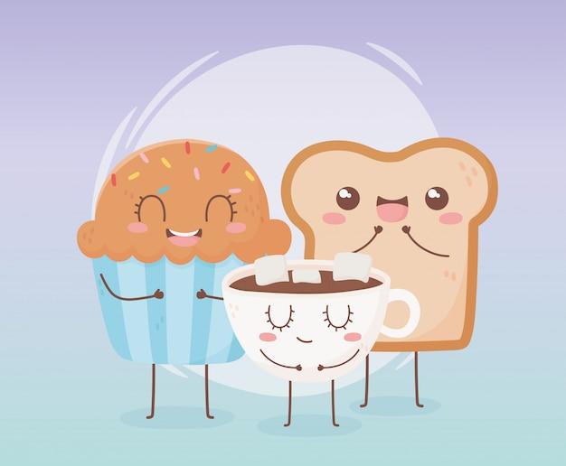 Disegno di personaggio dei cartoni animati dell'alimento di kawaii della tazza del cioccolato e della tazza del bigné