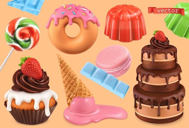 Cupcake, torta, ciambelle, gelatina, gelato, set 3d di caramelle