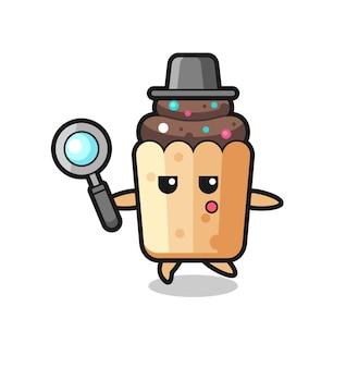 Personaggio dei cartoni animati cupcake alla ricerca con una lente di ingrandimento, design carino