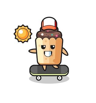 L'illustrazione del personaggio di cupcake cavalca uno skateboard, design carino