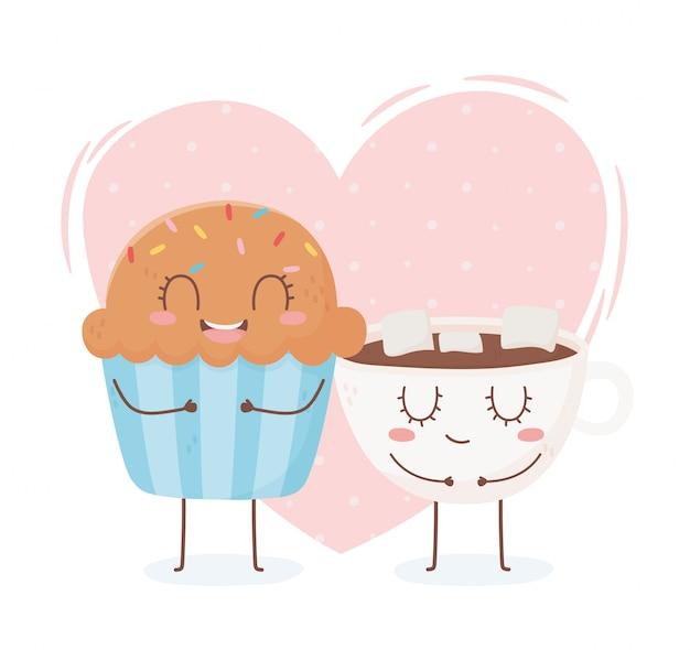 Cupcake e tazza di cioccolata con marshmallow kawaii cibo personaggio dei cartoni animati