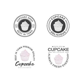 Modello di progettazione del logo del cupcake