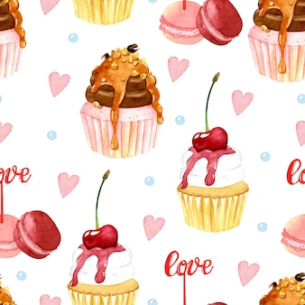Reticolo senza giunte dell'acquerello di amaretto cupcake